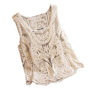 Tops - English Rose Embroidered Lace Tank